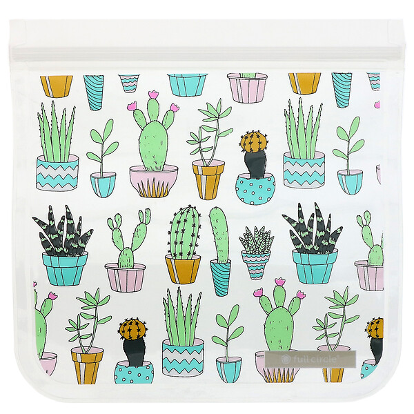 Full Circle, ZipTuck, Reusable Sandwich Bags, Cactus Party, 2 Bags