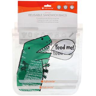 Full Circle, ZipTuck, Reusable Sandwich Bags, Dinosaur, 2 Bags