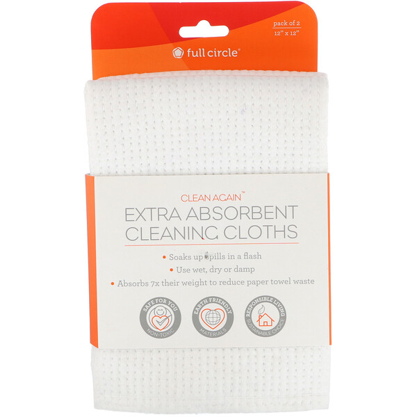 "Full Circle, Clean Again, Extra Absorbing Cleaning Cloths, 2 Pack, 12"" x 12"" Each"