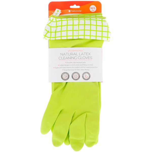 Splash Patrol, Natural Latex Cleaning Gloves, Green, Size M/L