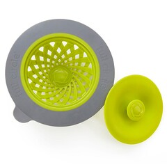 Full Circle, Sinksational, Sink Strainer with Pop-Out Stopper, Green & Slate, 1 Strainer & 1 Stopper