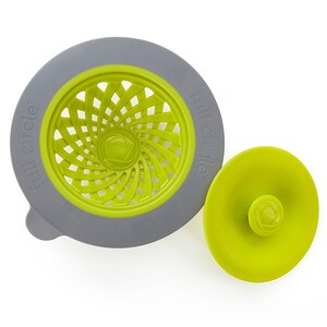 Фулл Серкл Хоум ЛЛС, Sinksational, Sink Strainer with Pop-Out Stopper, Green & Slate, 1 Strainer & 1 Stopper отзывы покупателей