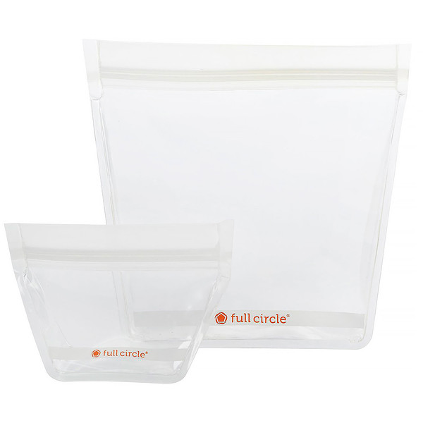 Full Circle, ZipTuck, Reusable Travel Bags, Clear, 1 Mini + 1 Travel