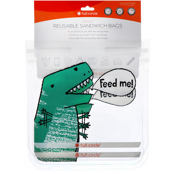 Full Circle, ZipTuck, Reusable Sandwich Bags, Dinosaur, 2 Bags (Discontinued Item)