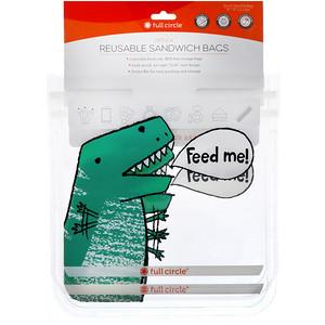 Фулл Серкл Хоум ЛЛС, ZipTuck, Reusable Sandwich Bags, Dinosaur, 2 Bags отзывы