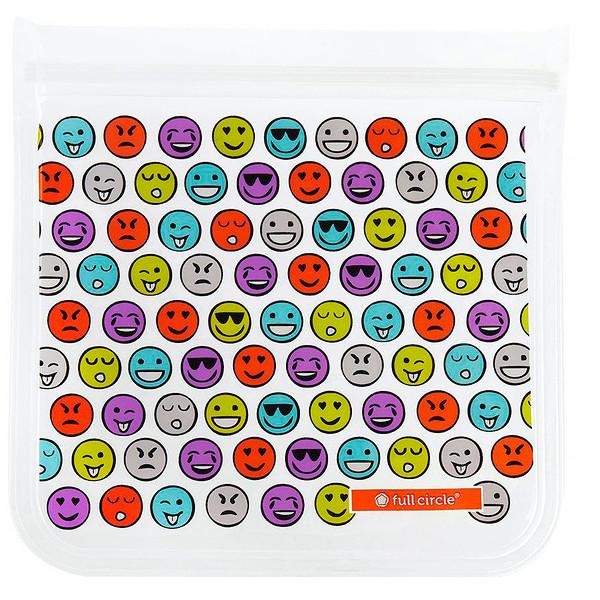 ZipTuck, Reusable Lunch Bag Set, Emojis, 1 Sandwich + 1 Snack