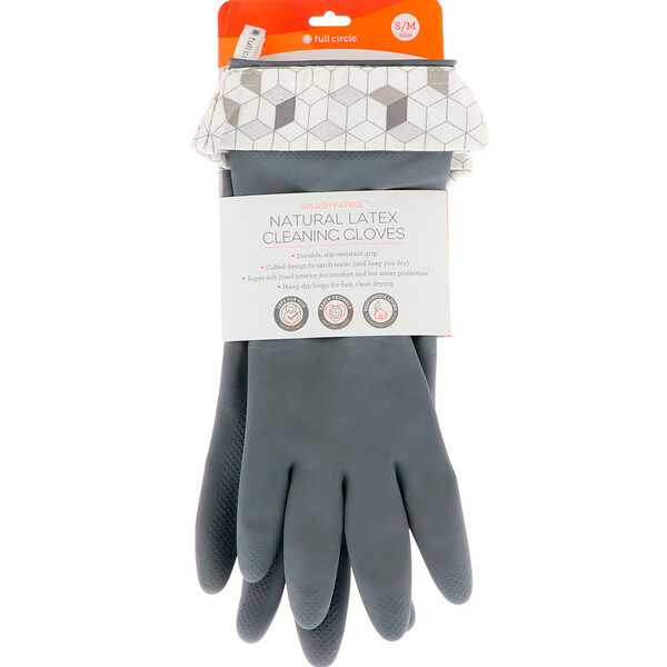 Full Circle, Splash Patrol, Natural Latex Cleaning Gloves, Grey, Size S/M