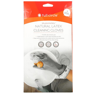 Full Circle, Splash Patrol, Natural Latex Cleaning Gloves, Gray, Large, 1 Pair
