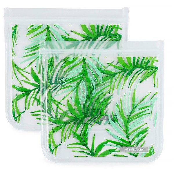 Full Circle, ZipTuck, Reusable Sandwich Bags, Palm Leaves, 2 Bags