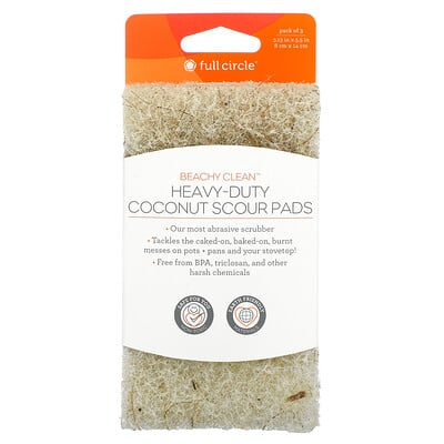 Full Circle Beachy Clean, Heavy-Duty Coconut Scour Pads, 3 Pack