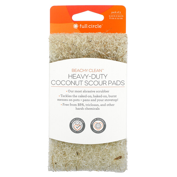 Beachy Clean, Heavy-Duty Coconut Scour Pads, 3 Pack