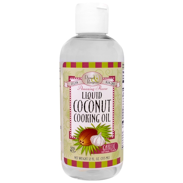FunFresh Foods, Liquid Coconut Cooking Oil, Garlic Natural Flavor , 12 fl oz (355 ml) (Discontinued Item)