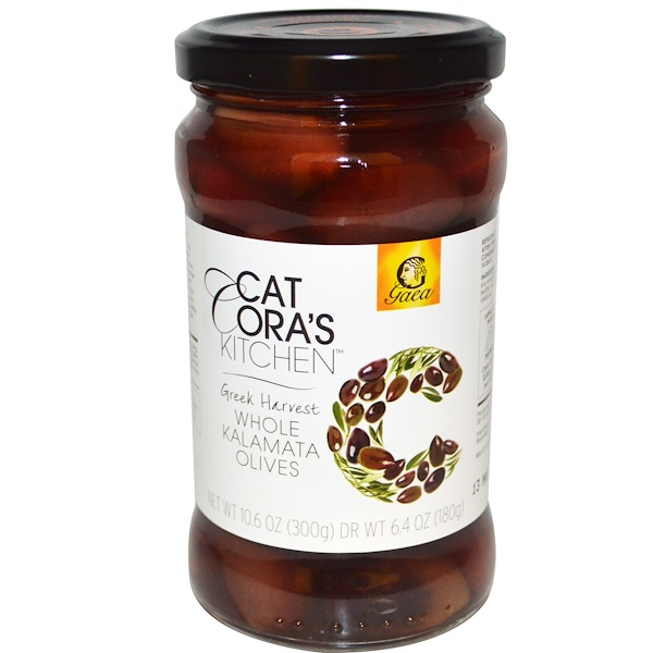 Gaea, Cat Cora's Kitchen, Whole Kalamata Olives, 10.6 oz (300 g) (Discontinued Item)