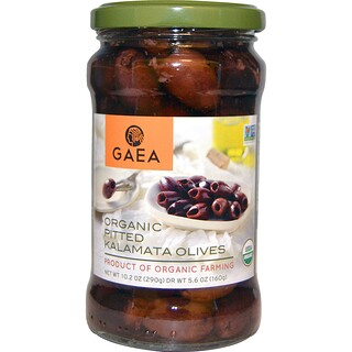 Gaea, Organic Pitted Kalamata Olives, 10.2 oz (290 g)