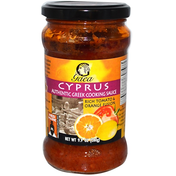 Gaea, Cyprus, Authentic Greek Cooking Sauce, Rich Tomato & Orange Fusion, 9.9 oz (280 g) (Discontinued Item)