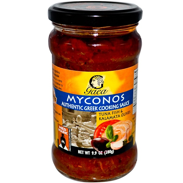 Gaea, Myconos, Greek Cooking Sauce, Tuna Fish & Kalamata Olives, 9.9 oz (280 g) (Discontinued Item)
