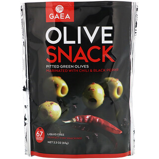 Gaea, Olive Snack, Pitted Green Olives, Marinated With Chili & Black Pepper, 2.3 oz (65 g)
