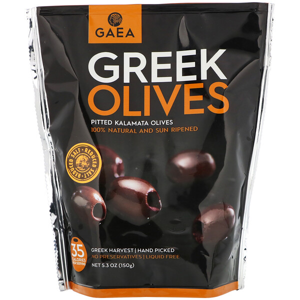 Gaea, Greek Olives, Pitted Kalamata Olives, 5.3 oz (150 g)