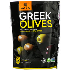 Gaea, 希臘橄欖,去核混合橄欖,綠色、黑色和深褐色,5.3 盎司(150 克)