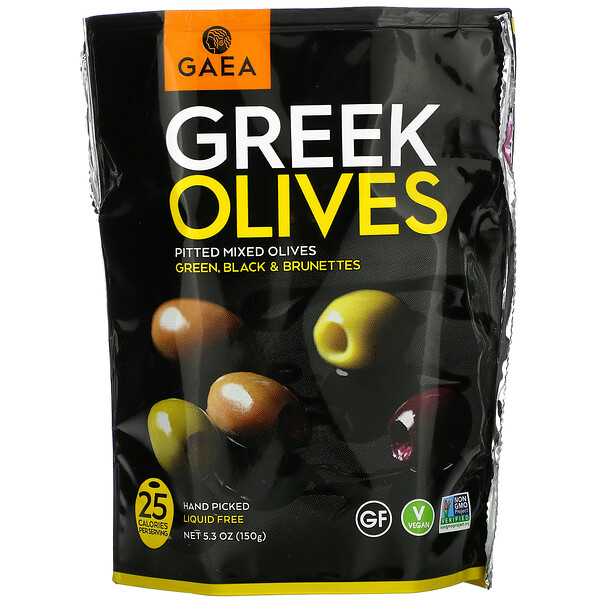 Gaea, Greek Olives, Pitted Mixed Olives, Green, Black & Brunettes, 5.3 oz (150 g)