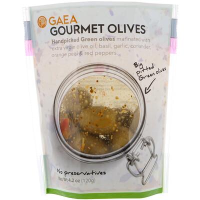 Купить Gaea Оливки для гурманов, маринованные зеленые оливки без косточек, 4, 2 унции (120 г)