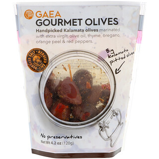 Gaea, Gourmet Olives, Marinated Pitted Kalamata Olives, 4.2 oz (120 g)
