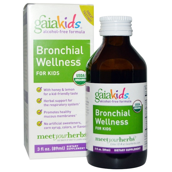 Gaia Herbs, Bronchial Wellness, para Niños, Sin Alcohol, 3 fl oz (89 ml)