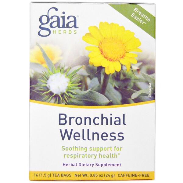 Gaia Herbs, Здоровье бронхов, без кофеина, 16 чайных пакетиков по 1,5 г  (Discontinued Item)