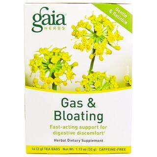 Gaia Herbs, Gas & Bloating, Caffeine-Free, 16 Tea Bags, 1.13 oz (32 g)