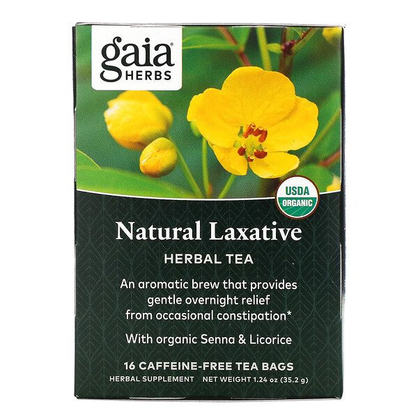 Natural Laxative, Herbal Tea, Caffeine-Free, 16 Tea Bags, 1.24 oz (35.2 g)