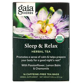 Gaia Herbs, Herbal Tea, Sleep & Relax, beruhigender Kräutertee, koffeinfrei, 16Teebeutel, 27,2g (0,96oz.)