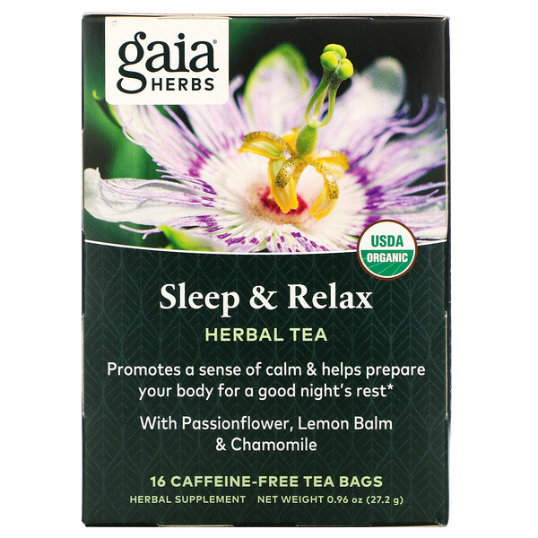 Herbal Tea, Sleep & Relax, Caffeine-Free, 16 Tea Bags, 0.96 oz (27.2 g)