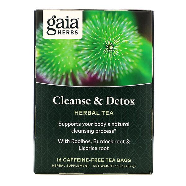 التنظيف والتخلص من السموم، خالٍ من الكافيين، 16 كيس شاي، 1.13 أونصة (32 جم)