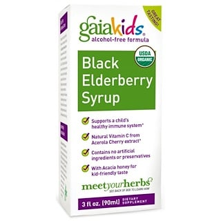 Gaia Herbs, Kids, Black Elderberry Syrup, Alcohol-Free Formula, 3 fl oz (90 ml)