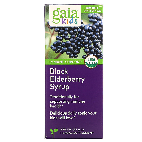 Gaia Herbs, Kids, Black Elderberry Syrup, 3 fl oz (89 ml)