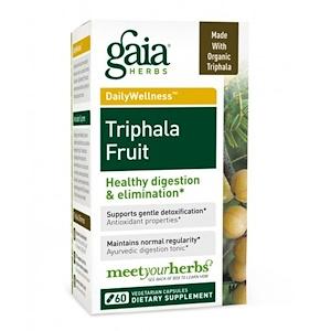 Gaia Herbs, Трифала фрукты, 60 вегетарианских капсул инструкция, применение, состав, противопоказания