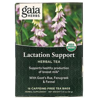 Gaia Herbs, Herbal Tea, Lactation Support, Kräutertee zur Unterstützung in der Stillzeit, koffeinfrei, 16Teebeutel, 32g (1,13oz.)