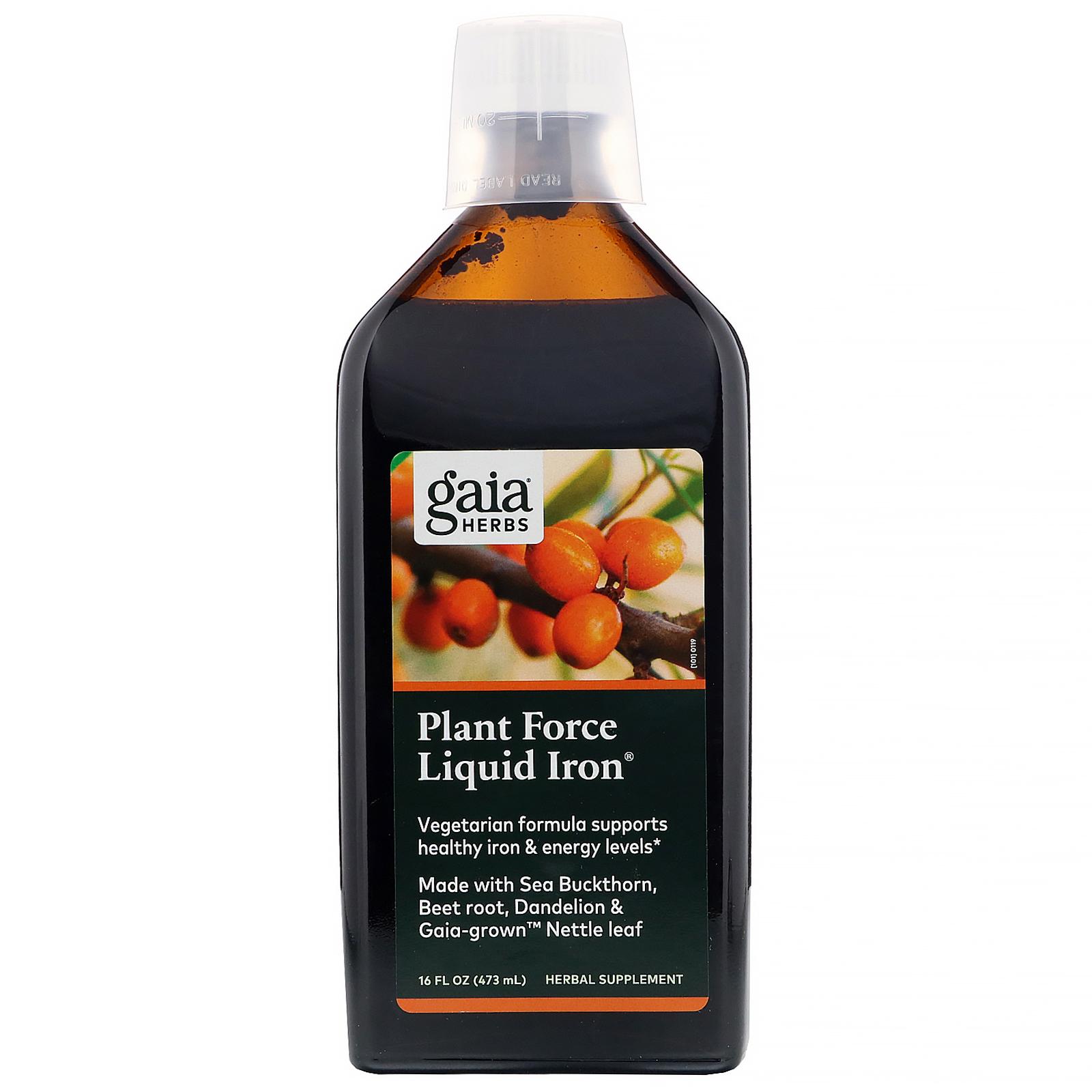 Gaia Herbs Plant Force Liquid Iron 16 Fl Oz 473 Ml Iherb