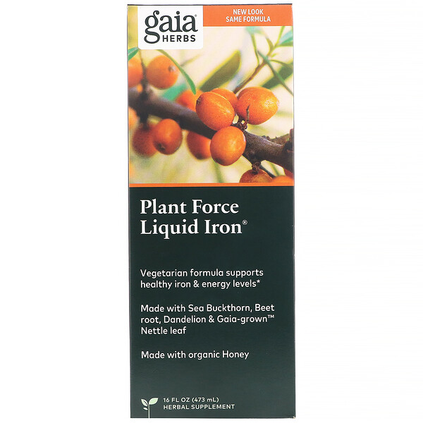 Gaia Herbs, Plant Force Liquid Iron, 473 мл (16 жидк. унций)