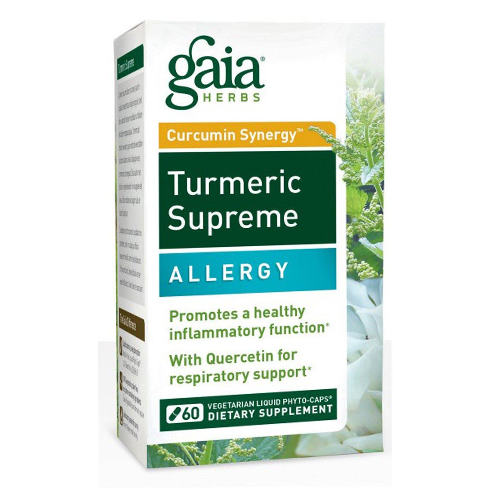 Gaia Herbs, Turmeric Supreme, Allergy, при аллергии, 60 вегетарианских жидких фитокапсул