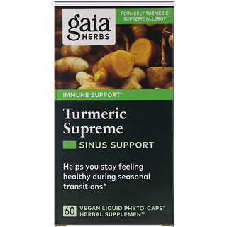 Gaia Herbs, Turmeric Supreme, Sinus Support, 60 Vegan Liquid Phyto-Caps