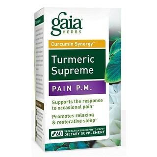 Gaia Herbs, Turmeric Supreme, Pain P.M., 60 Vegetarian Liquid Phyto-Caps