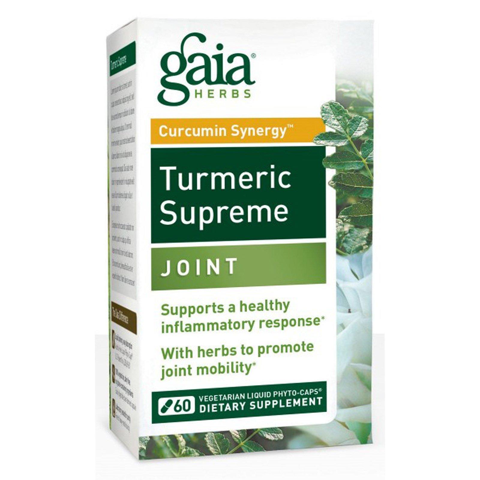 Gaia Herbs, Turmeric Supreme, Joint, для суставов, 60 вегетарианских жидких фитокапсул