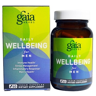 Gaia Herbs, Daily WellBeing for Men, 60 Vegan Caps