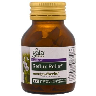 Купить Gaia Herbs Средство для облегчения рефлюкса, 45 быстрорастворимых жевательных таблеток