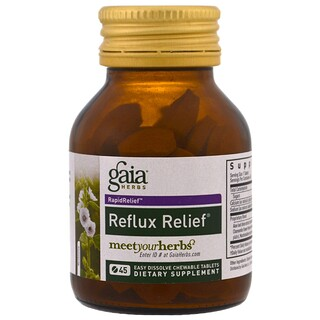 Gaia Herbs, Reflux Relief, 45 Easy Dissolve Chewable Tablets