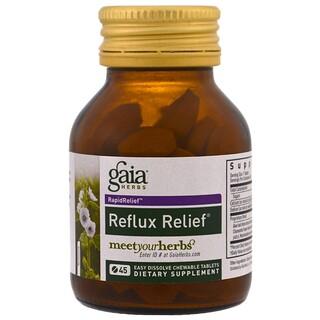 Gaia Herbs, Alívio do Refluxo, 45 comprimidos mastigáveis de fácil dissolução