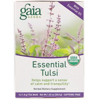 Gaia Herbs, Essential Tulsi, Caffeine-Free, 16 Tea Bags, 1.02 oz (28.8 g)