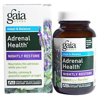 Gaia Herbs, Salud Adrenal, Reparación Nocturna, 60 Fito-Cápsulas Líquidas Veganas