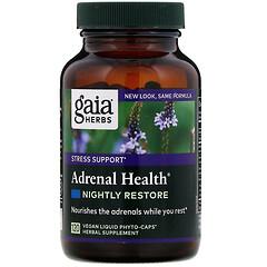 Gaia Herbs, 腎上腺健康,夜間修復,120 粒全素液體 Phyto-Caps 膠囊